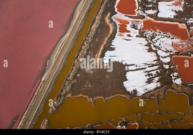 Salt works, aerial view, Namib Desert, Namibia - Stock Image