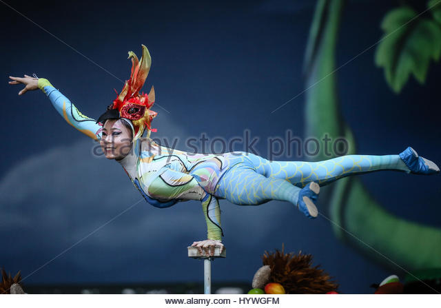 Belo Horizonte, Brazil. 26th Apr, 2017. The Circus of China performs at BH Hall in Belo Horizonte, the capital city - Stock Image