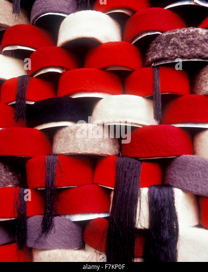 Hats on shelves in the Tunis souk. Tunis is the capitol city of Tunisia. North Africa. - Stock Image