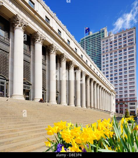 James Farley Post Office April in New York, NY. - Stock-Bilder
