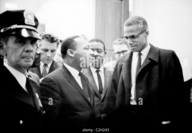Martin Luther King and Malcolm X - Stock-Bilder