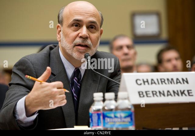Federal Reserve Chairman Benjamin Bernanke. - Stock Image