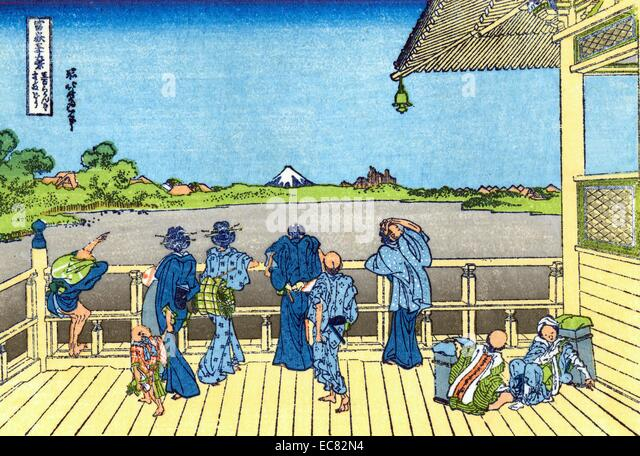 Katsushika Hokusai Fuji-from-the-Platform-of-Sasayedo - Stock Image
