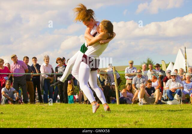 Ladies Cumberland Wrestling. Bellingham Show and Country Festival, Bellingham, Northumberland, England, United Kingdom, - Stock Image