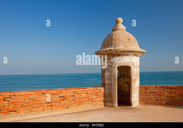 A sentry box overlooking the sea at the San Cristobal Castle in san Juan, Puerto Rico, West Indies. - Stock Image