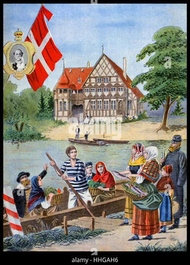 Illustration showing the Danish Pavilion, at the Exposition Universelle of 1900. - Stock Image