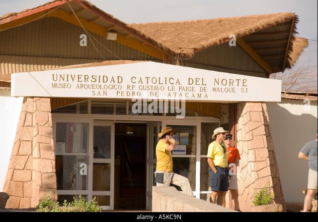 Chile San Pedro de atacama archeological museum atacama desert tourists attarcheological museum exterior - Stock Image