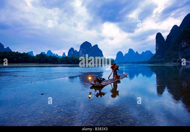 Cormorant Fisherman in the Lijang Li River Xingping Guilin province China model release 701 - Stock Image