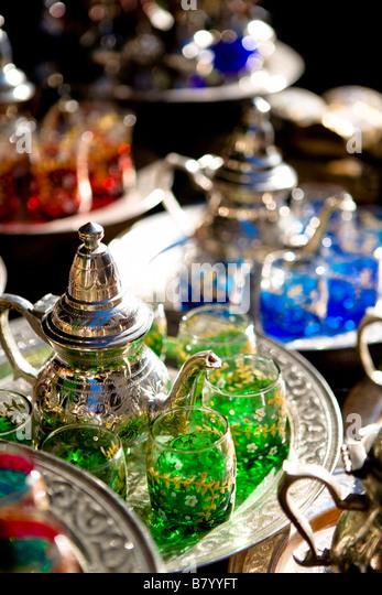 Tunis, Tunisia, Africa; Silver tea sets - Stock Image