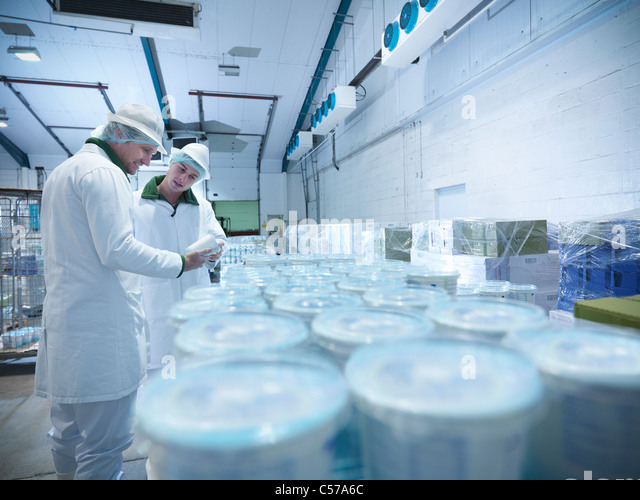 Workers with yogurt in dairy cold store - Stock Image