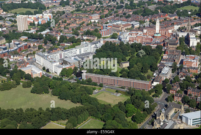 aerial view of St George's Fields and Leeds University, with part of Woodhouse Moor Park in the foreground - Stock Image