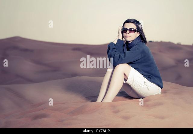 Caucasian Woman in Desert - Stock Image