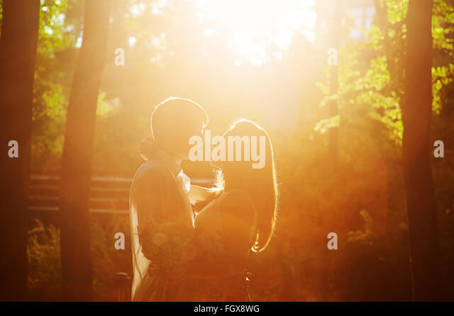 romantic loving couple kissing in the park in front of the sunset - Stock-Bilder
