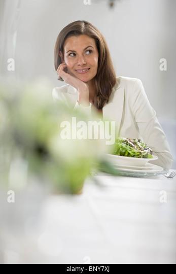 Shy woman - Stock Image