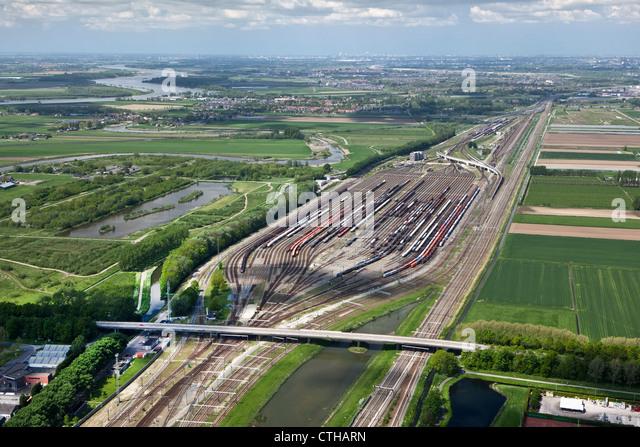 The Netherlands, Zwijndrecht, Train shunting-yard called Kijfhoek. Aerial. - Stock Image