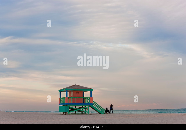 Lifeguard Hut, early morning, South Beach, Miami, Florida, USA - Stock Image