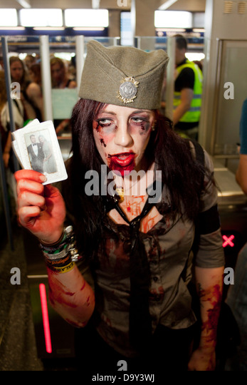 A Zombie at Stockholm Zombie Walk 2012 - Stock Image