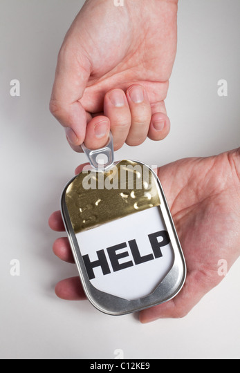 Can and word help, Concept of easy and timely assistance - Stock Image