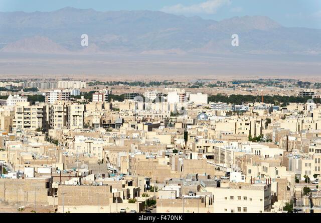 View of desert city of Yazd, Iran - Stock Image