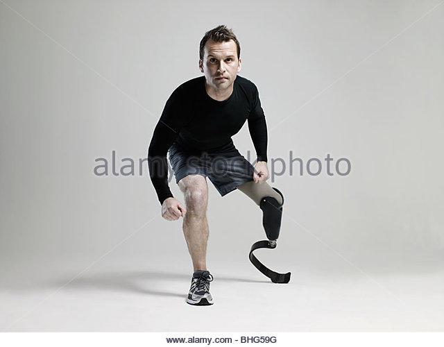 Athlete with prosthetic leg - Stock Image
