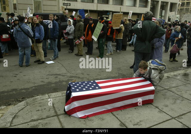 Anti-war protesters protest in Washington, D.C. during George W. Bush's second inauguration. - Stock Image