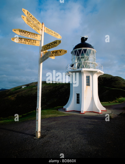 Cape Reinga light house distance sign to south pole - Stock Image