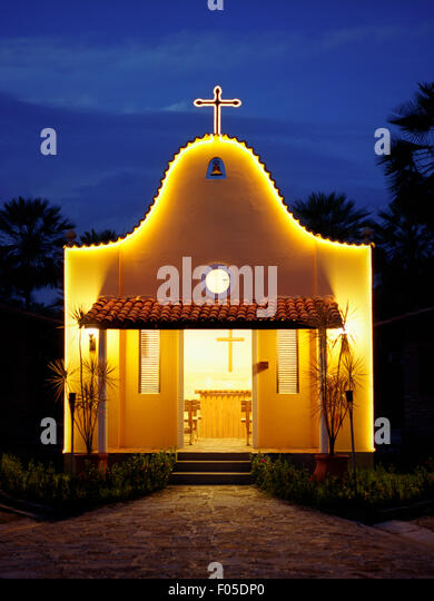 A small church at dusk at Porto Preguiças Resort. Barreirinhas, Brazil. - Stock Image