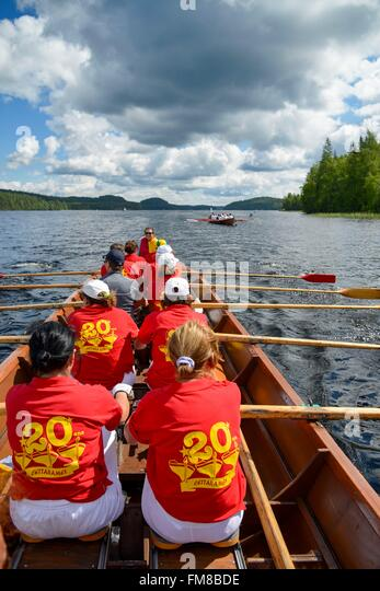 Finland, province of oriental Finland, Sulkava, rowing race on a lake - Stock Image