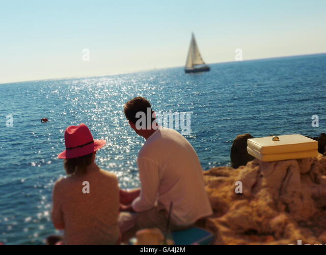 young couple,romance,leisure,daytrippers,nature,water,Rovinj,Croatia,Adriatic - Stock-Bilder