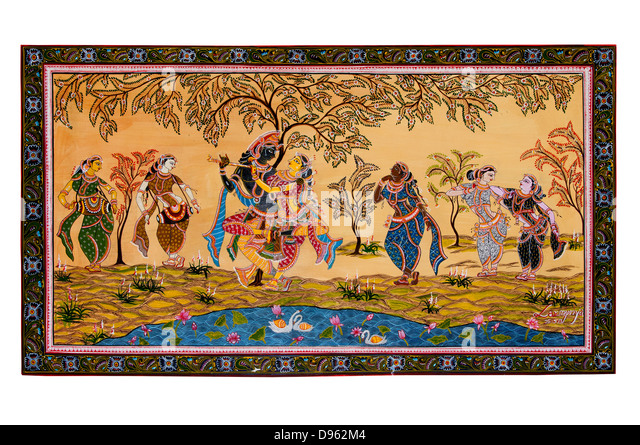 Krishna radha dacing painting , rasa lila or rasa dance - Stock Image