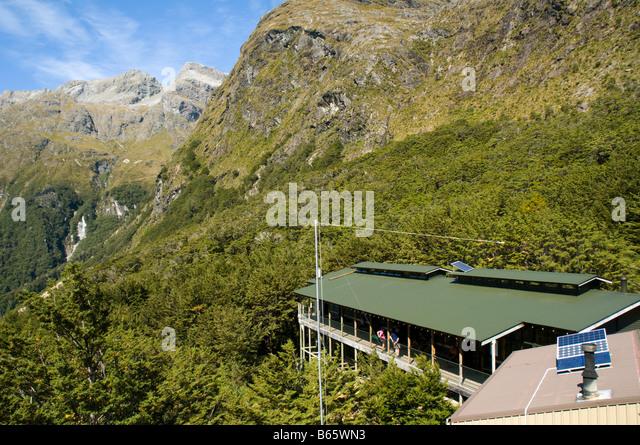 The Routeburn Falls Hut, Routeburn Track, South Island, New Zealand - Stock Image