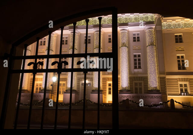 Tartu University's main building as seen through the gate. 28th January 2017 - Stock Image