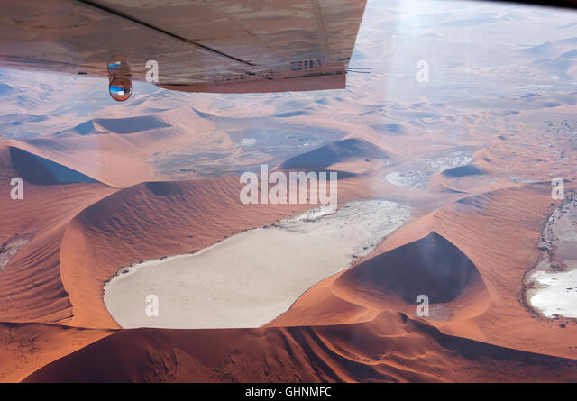 Flying over the Dead Vlei, Sossusvlei, in Namibia; Aerial view of the Dead Vlei, Concept for traveling in Africa - Stock-Bilder