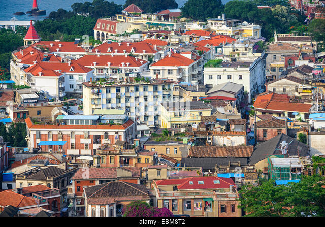 Xiamen, China cityscape of historic buildings on Gulangyu Island. - Stock-Bilder