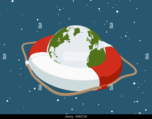 Planet earth inside a life ring - Stock Image