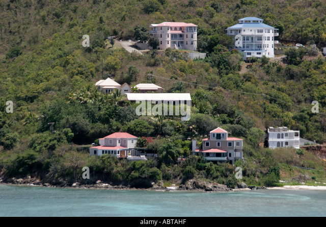 BVI Tortola Caribbean Sea beach hillside houses apartments - Stock Image