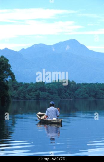 Honduras fisherman pico bonito peak cuero y salado wildlife reserve - Stock Image