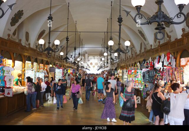 Inside the Cloth Hall (Sukiennice) in Main Market Square (Rynek Główny) of the Old Town in Krakow, Poland, - Stock Image