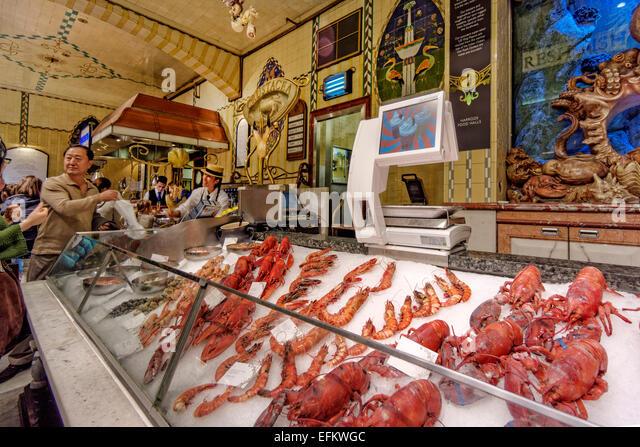 Fresh Fish in  Harrods Department Store in Knightsbridge, London - Stock Image