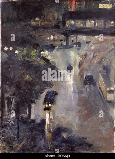 fine arts, Ury, Lesser (1861 - 1931), painting 'Nollendorfplatz at Night', oil on canvas, 72.5 cm x 54.5 - Stock-Bilder