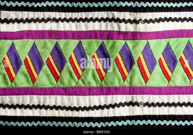 Native American Seminole handmade quilted patterns - Stock Image