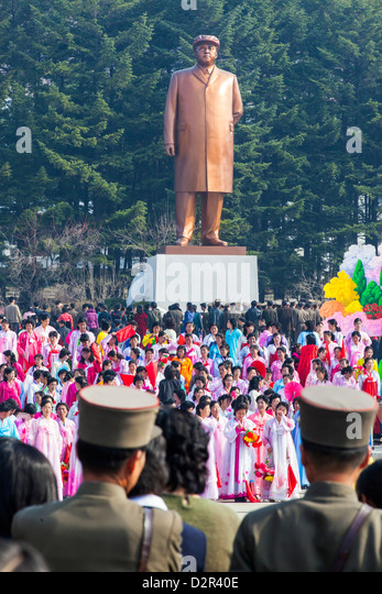 Celebrations on the 100th anniversary of the birth of President Kim Il Sun, in Pyongshong, outside Pyongyang, North - Stock Image