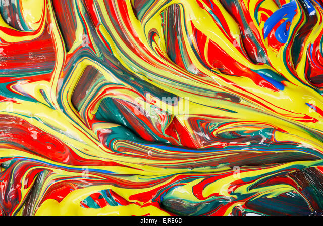 Different colors of artist's acrylic paints mixed. - Stock Image