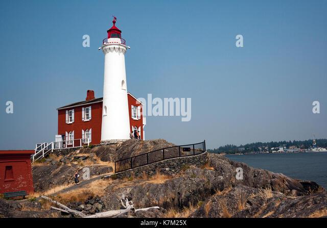 Fisgard Lighthouse and Fort Rodd Hill, Victoria, Vancouver Island, British Columbia, Canada - Stock Image