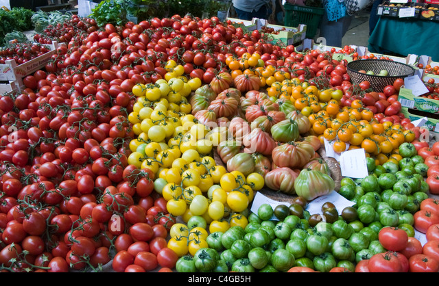 Selection of vegetables on a market stall - Stock Image