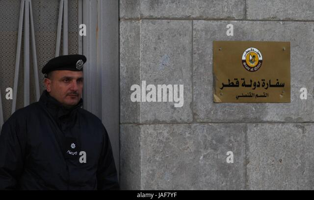 Amman. 6th June, 2017. The photo taken on Dec. 11, 2011 shows the gate of the Qatari embassy in Amman, the capital - Stock Image