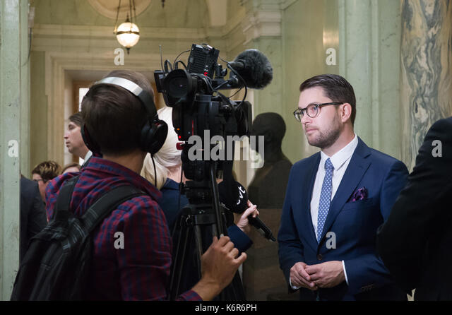 Stockholm, Sweden. 12th Sep, 2017. Opening of the Riksdag. Mingle and interviews after the session. Jimmie Akesson, - Stock Image