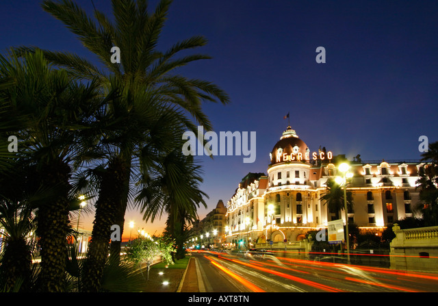 France Nice Promenade des Anglais Hotel Negresco at night - Stock Image