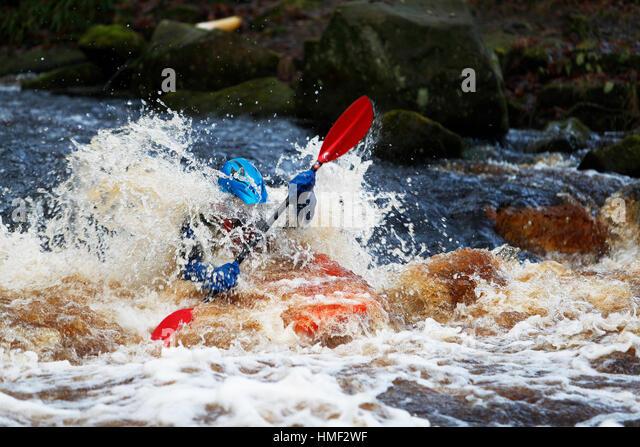 Wild Water Canoeing River Washburn North Yorkshire - Stock Image