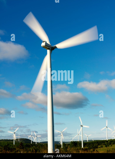 Canada Quebec Gaspesie Cap Chat wind turbines used to generate electricty - Stock Image